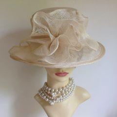 Hand Made Ivory Sinamay Hat Large Rosette To Front Wedding Church Races Goodwood
