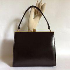 Brown Leather Vintage 1950s Handbag Fabric Lining Mad Men Goodwood Weddings