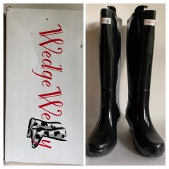 Wedge Welly Wellies Unique Legend Black 2 Inch Heels Wellington Boots UK 6 EU 39