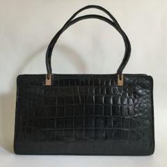 Crocodile Skin 1950s Black Good Sized Vintage Handbag Black Leather Lining And Hidden Side Pockets