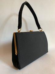 Black Grosgrain 1960s Vintage Handbag Moir Fabric Lining & Gold Toned Fittings