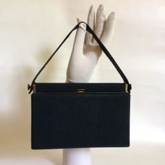 RFC Black Grosgrain 1940s Vintage Box Shaped Handbag Moir Lining Snap Clasp