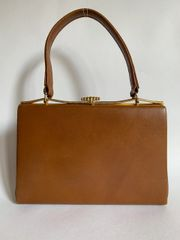 Tan Leather 1950s Vintage Handbag With Elbief Frame,Buff Suede Lining And Vanity Mirror Kelly Bag