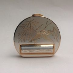 Vintage 1950s Powder & Lipstick Compact With Puff Sifter And Pouch Stork & Reed Etching