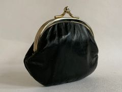 Vintage 1950s Double Sided Coin Purse Black Smooth Leather Lined in tan suede leather