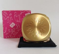 Vintage 1970s Gold Toned Convertible Powder Compact With Original Long Lasting Sifter Box And Black Felt Pouch Squarish shaped compact.