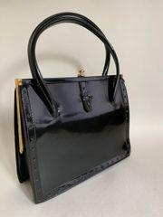 Freedex Black 1960s Faux Patent Vintage Handbag Fabric Lining & Vanity Mirror