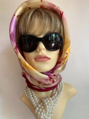 "Claire Neuville Vintage 1960s 37"" Rose Pattern Burgundy & Pink Multi Coloured Head Scarf With Stitched Hem Edge"