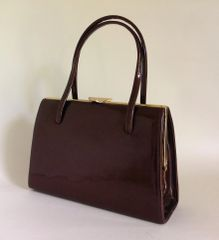 GOLD CROSS 1950s Bronze Patent Leather Vintage Handbag Leather Lining & Elbief Frame