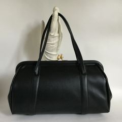 Black Barrel Shaped Faux Leather Rockabilly 1950s Vintage Handbag With Black Fabric Lining