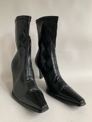 """Black Synthetic Stretch Calf Length Sexy 3"""" Heel Ankle Boots Size UK 5 EU 38"""