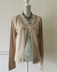 Maria Grach Vogel Designers At Debenhams Milk Coffee Coloured Beaded Viscose Mix Cardigan Size Large 14