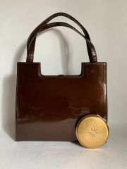GARFIELD OF LONDON Bronze Patent Leather 1960s Vintage Handbag With Buff Suede Lining And Elbief Frame, Along With A 1960s Brass Stratton Convertible Compact