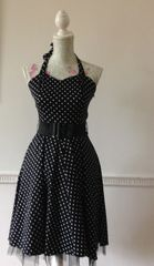 Hearts & Roses Black Polka Dot Rockabilly 1950s Retro Halterneck Dress Size 10