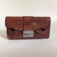 Vintage 1940s Brown Leather Unlined Housewife Coin Purse Mini Wallet