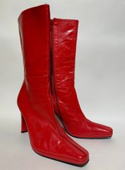 "Eye Bright Red Upper Calf Soft Leather Slim 3.5"" High Heel Boots Size UK 4 EU 37"