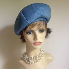 KANGOL French Style Sky Blue Vintage 1960s Segmented Beret Polyester Hat