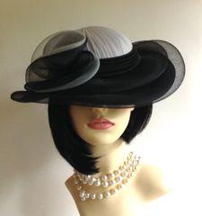 C & A Vintage 1990s Hand Made Black & Grey Dress Hat Wedding Derby Church Races