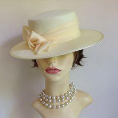 Kangol Ladies Wedding Church Races Formal Hat Polyester Ivory Bow Ribbon Details