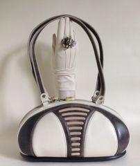 Alaluna Ivory & Olive Baseball Shape Shoulder Bag Handbag Shoe Sole Style Base