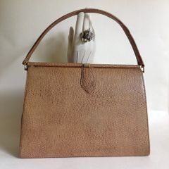 Large Camel Faux Lizard 1950s Vintage Handbag Fabric Lining Kelly Bag Mad Men