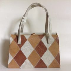 Vintage 1960s Handbag Ivory & Tan Diamond Pattern Faux Leather With Brown Fabric Lining
