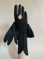 "Maggy Rouff Vintage 1950s Black 11.5"" Patterned Nylon Gloves Button Decorated Tulip Hem Size 6.5"