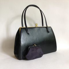Leda By Bagcraft Black Leather 1950s Vintage Handbag Buff Suede Lining And Coin Purse
