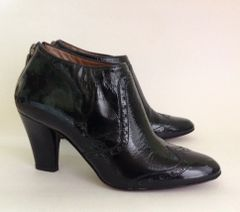 """HOBBS Black Patent Leather 3"""" High Heel Booties Ankle Boots With Side Zip Size UK 3 EU 36"""