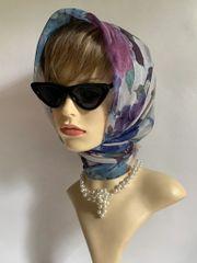 "Vintage White Blue Purple Floral Rose Pattern 30"" Nylon Chiffon Scarf Stitched Hem"