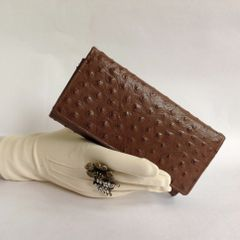 Facchino Ostrich Embossed Calf Leather 1990s Vintage Wallet Purse Fabric and Leather Lining