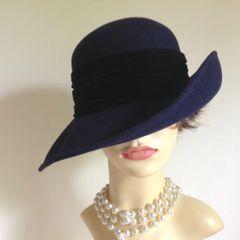 C&A Blue 100% Wool Felt Hat With Black Velvet Ribbon Trilby Fedora Brim Hat