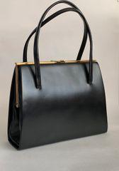 Chamelle Vintage 1960s Handbag Black Faux Leather Buff Suede Lining Elbief Frame.