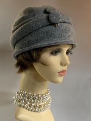 Coccinelle 100% Lambs Wool Grey Marl Fine Knit Unlined Pull On Tight Fit Hat