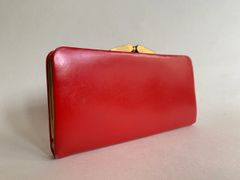 Vintage Bright Red 1960s Smooth Leather Purse Suede & Leather Lining Kiss Clasp