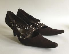"Kristel By CNV Studded Suede Leather Mary Jane Kitten 3"" Heel Shoe UK 4 EU 37"