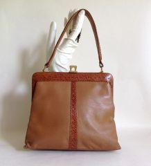 1960s Vintage Handbag In Tan Soft Leather & Snake Skin With A Black Suede Lining
