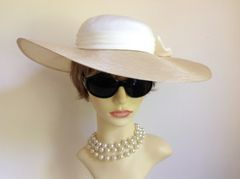 Headways By Albert Polyester Straw Hat Ivory Fabric Top & Bow Church Weddings