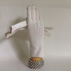 "Vintage 1950s Pale Pink Cotton 10"" Evening Gloves Wedding Opera Church"