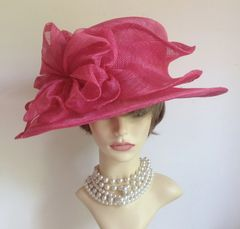 Hand Made Sinamay Layered Detail Rose Pink Colour Dress Hat Weddings Church Goodwood