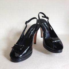 Russell & Bromley Beverly Feldman 'Swanky'Black Patent Leather Slingback Peeptoe Shoe UK 5.5 EU 38.5