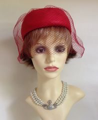 Vintage 1960s Red Pillbox Hat With Over Net Veil Polyester Woven Fabric