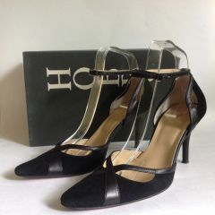 "Hobbs Kim Black Suede And Leather Almond Toe Mary Jane 3.5"" Stiletto Shoes With original Box Size UK 5.5"