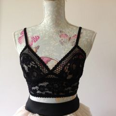 ELSE Petunia Black Lace Plunge Under Wired Cami Triangle Bra With Tags Size 34B