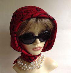 "Jacqmar Vintage 1960s Red Black Circle Pattern Silk Blend Scarf 28"" Rolled Hem"