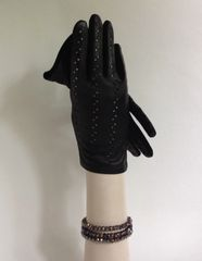 Vintage 1960s Black Leather Back & Fabric Palm Evening Gloves Size 7