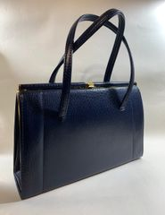 1950s Vintage Blue Textured Faux Leather Large Handbag With Black Fabric Lining