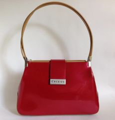 EXCESS Red & Beige Twin Handle Patent Faux Leather Handbag Ivory Fabric Lining