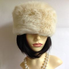 Jigsaw Ivory Russian Cossack Style Faux Fur Hat With Quilted Lining