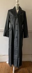 Capelle From Freemans Ladies Black Real Leather Maxi Length Single Breasted Coat In A Matrix Gothic Style Size 18
